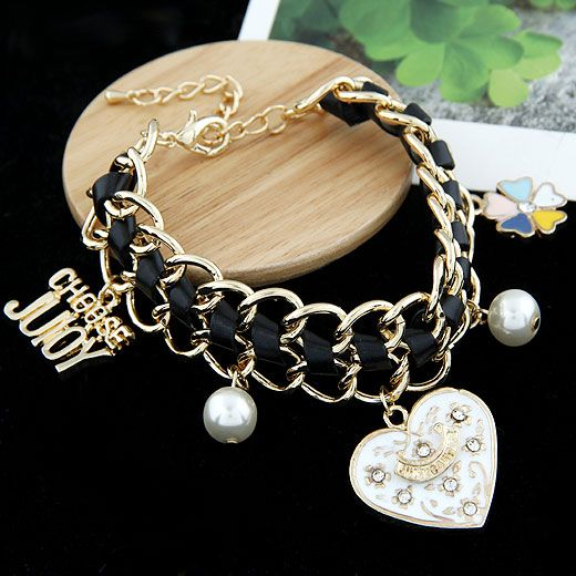 ( black ) EXQUISITE pave setting love heart four-leaf clover easy match leather cord bracelet 210576