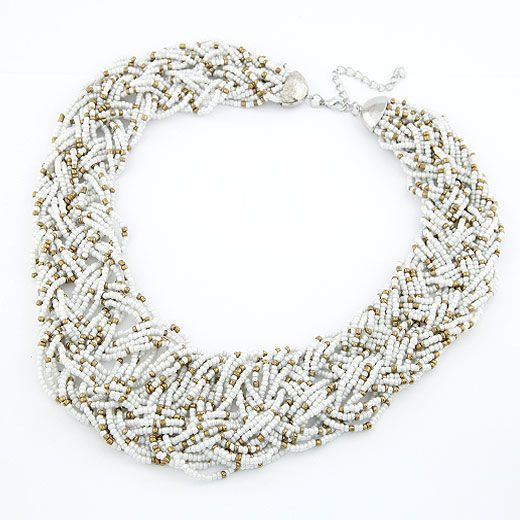 Handmade  Bohemian style  easy match rice beads weave necklace ( white ) 210492