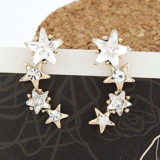 EXQUISITE  gem lucky star unique ear studs 210519