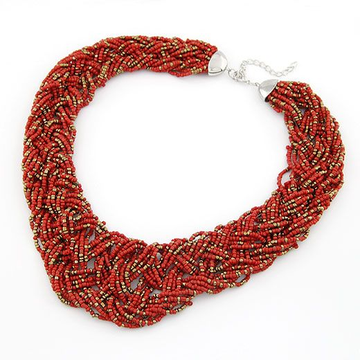 Handmade  Bohemian style  easy match rice beads weave necklace ( red ) 210495