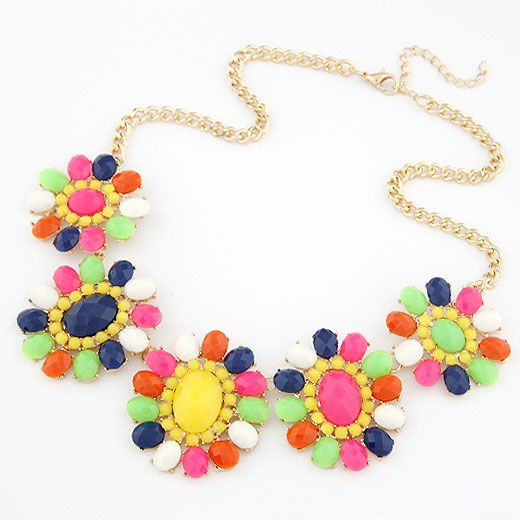 Occident fashion brand  Bohemian style fluorescent color sunflower short necklace 210421