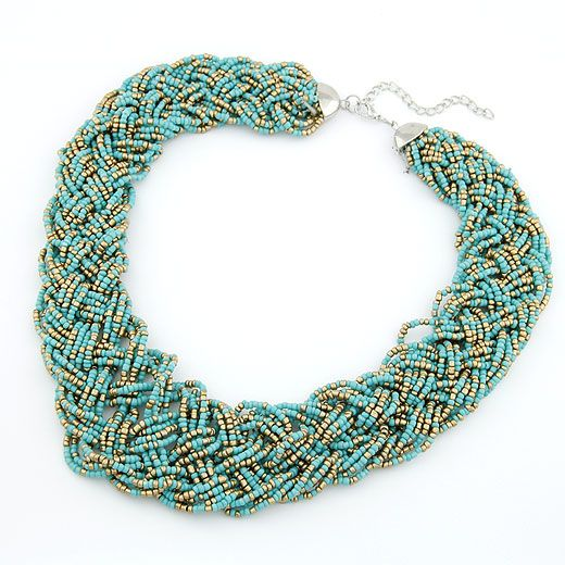Handmade  Bohemian style  easy match rice beads weave necklace ( blue ) 210494