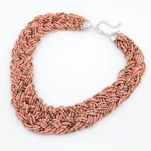 Handmade  Bohemian style  easy match rice beads weave necklace ( pink ) 210493