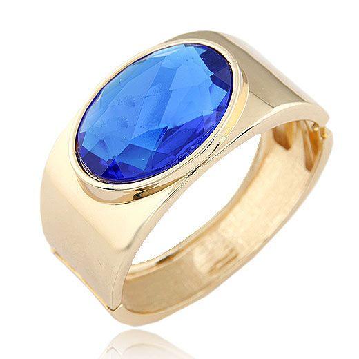 EXQUISITE simple design alloy metal boast blue oval gem bangle 210155