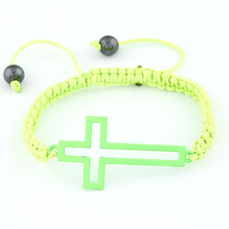 Fluorescent color hollow out cross weave cord bracelet ( green ) 210063