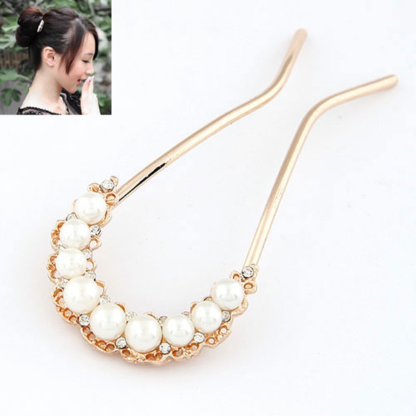 Sweet easy match lady wear u shaped Beads Hair fork 210068