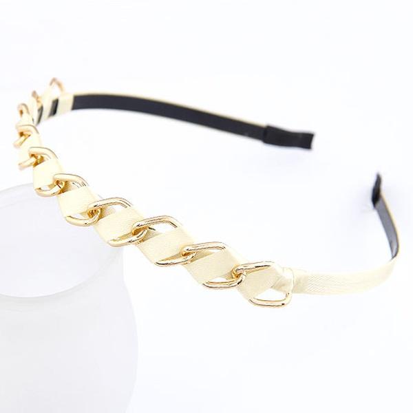 ( beige ) easy match alloy circle weave headband 209990