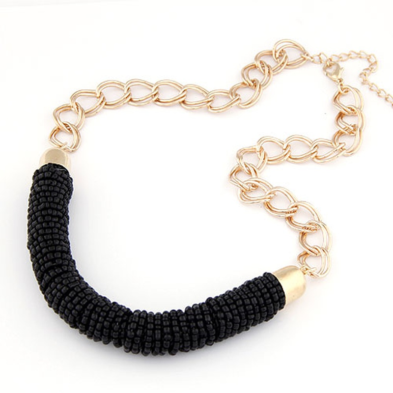 Occident fashion easy match metal chain Bohemian cylinder short necklace ( black ) 209999