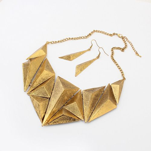 Occident boast geometry triangle cone necklace set 798326