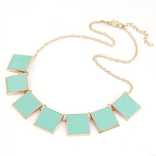 Occident fashion easy match alloy geometry square short necklace ( blue ) 209848