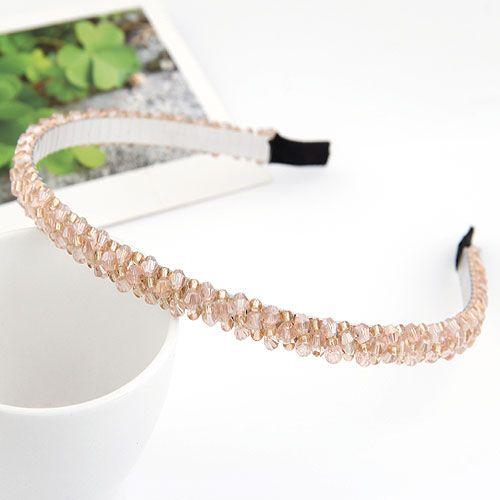 ( pink ) handmade bead imitated crystal weave headband 209765