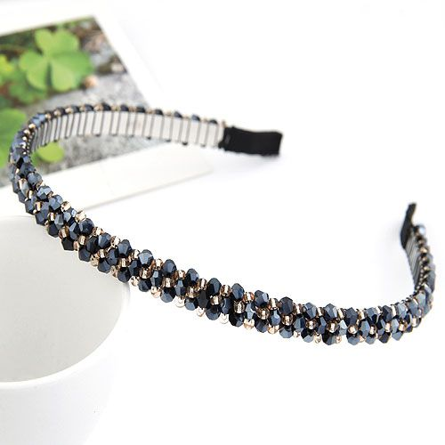 sapphire blue  handmade bead imitated crystal weave headband 209766