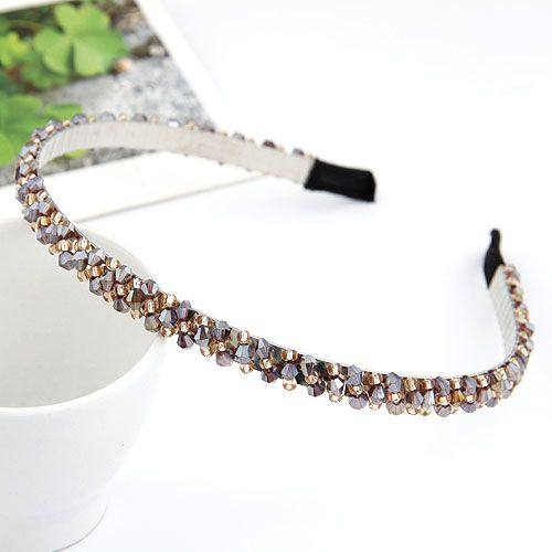 Amethyst  handmade bead imitated crystal weave headband 209768