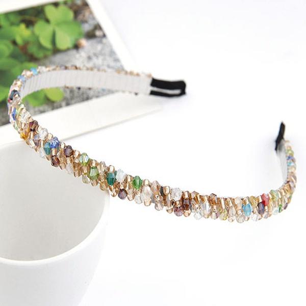 ( Multi-color ) handmade bead imitated crystal weave hair hoop 209769