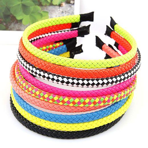 ( 1unit price )  easy match Fluorescent color weave hair hoop ( random color ) 209707