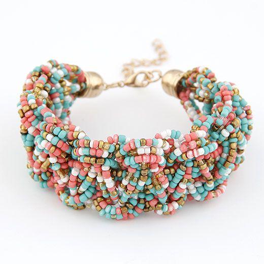 Handmade Bohemian style mini rice beads weave bracelet ( mix color ) 209698