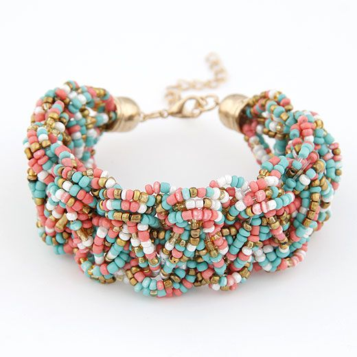 Handmade Bohemian style mini rice beads weave bracelet  mix color  209698