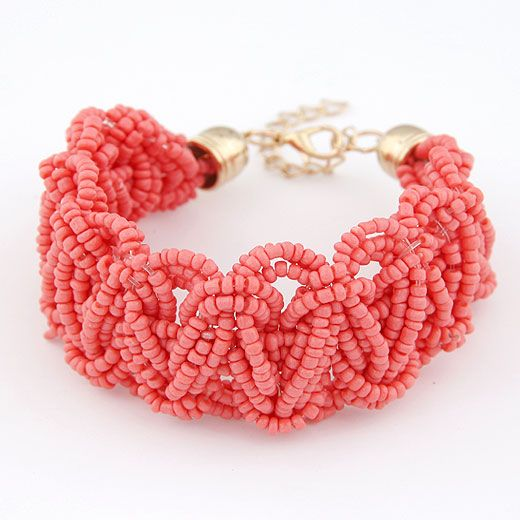 Handmade Bohemian style mini rice beads weave bracelet  watermelon red  209699