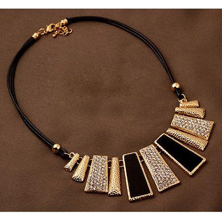 EXQUISITE boast easy match gem embedded metal bar leather short necklace 209523