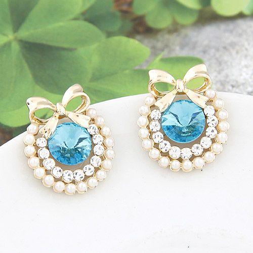 EXQUISITE Sweet gem bowknot ear studs ( sea blue ) 209545