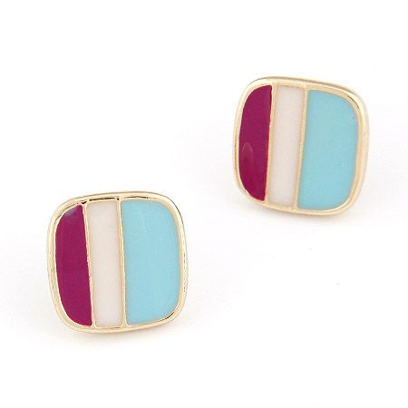 Sweet OL bourgeois sentiment stereo square ear studs 209462