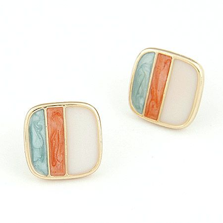 Sweet OL bourgeois sentiment stereo square ear studs 209463