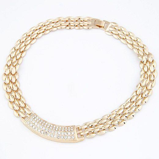 ( alloyen ) novel concise design gem embedded  short necklace 209369