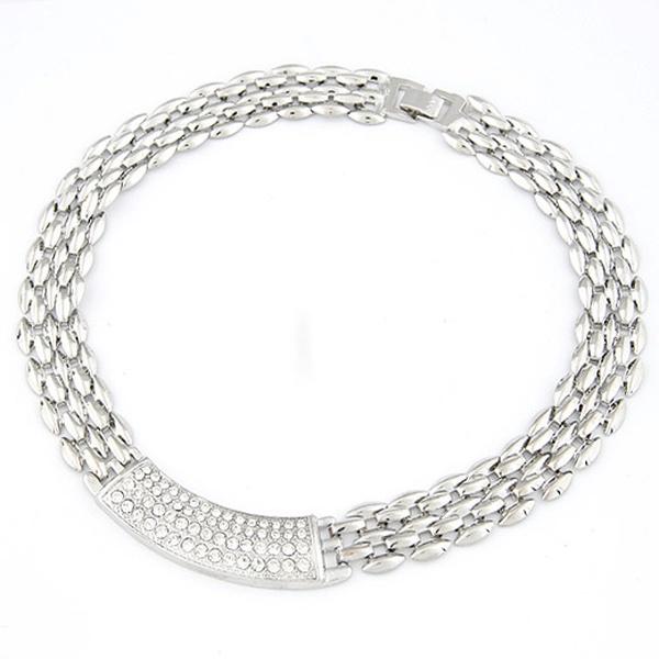 ( alloy tone  ) novel concise design gem embedded  short necklace 209370