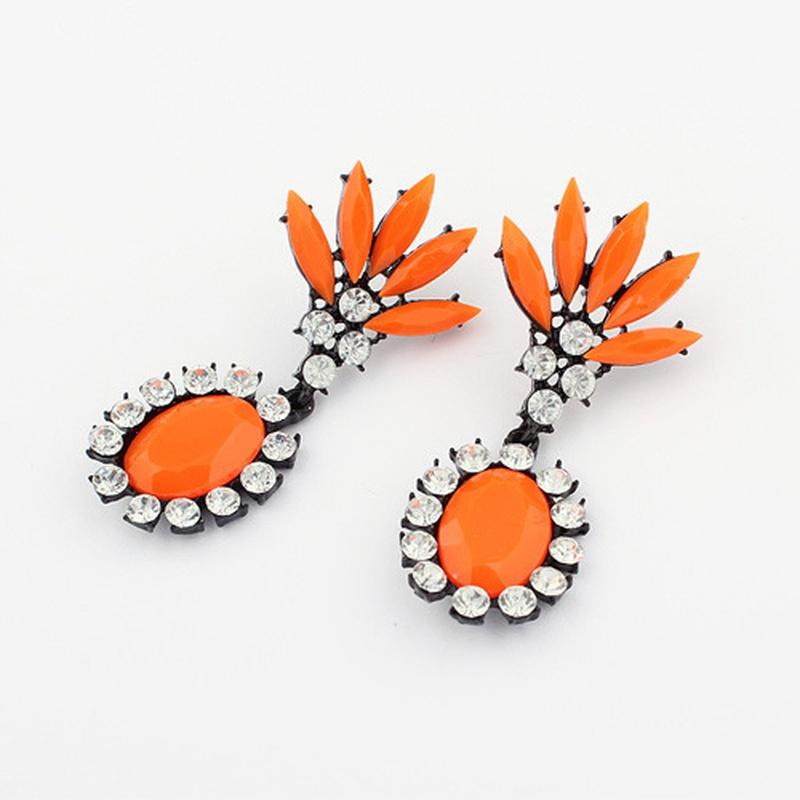 Occident iridescent fashion ice flower earring ( orange ) 797251