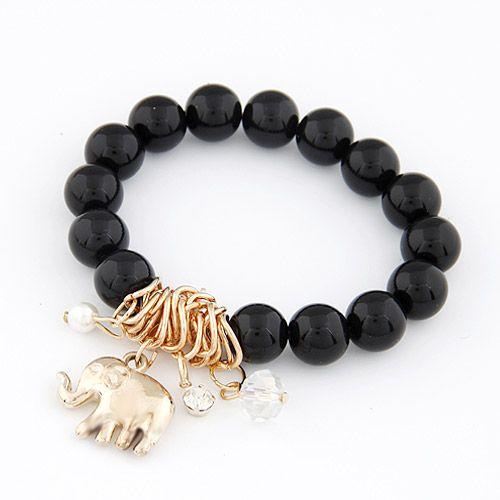 ( black ) easy match alloy color elephant pendant beads elastic bracelet 209231