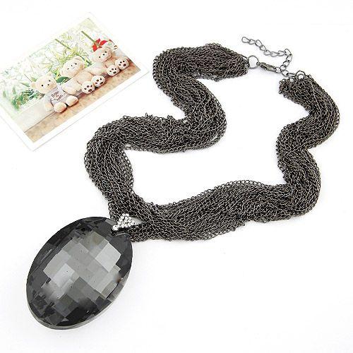 Luxury baroque style big tear drop multi-layer short necklace ( gun black ) 209171
