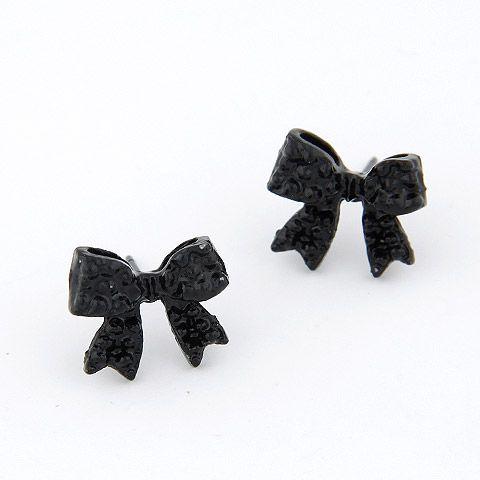 Black bowknot ear studs 209018