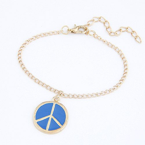 Unique peace sign bracelet ( blue ) 208877