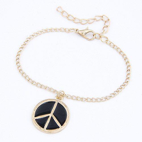 Unique peace sign bracelet ( black ) 208878