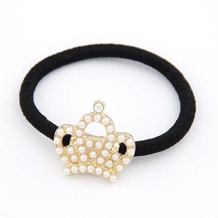 Sweet crown Beads black rubber band ponytailer 208763