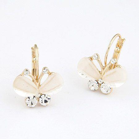 Cute the butterfly elegant ear studs  beige  208699