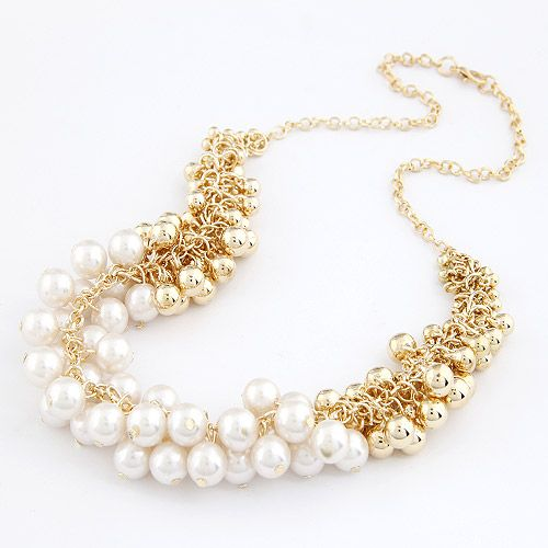 Easy match Sweet beauty Beads necklace ( white ) 208651