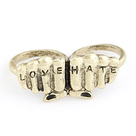 Vintage unique love and hate double circle ring 208593