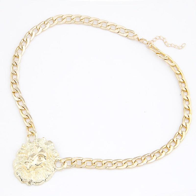 Bingbing Fan same design queen of the lion head portrait short necklace 208542