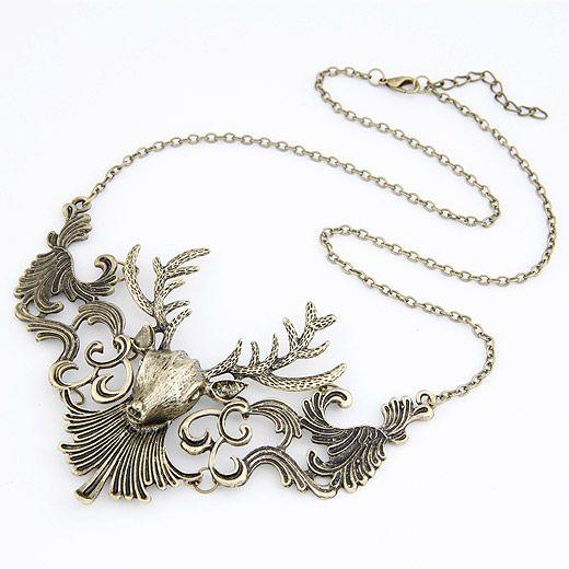 ( Antique bronze ) Occident fashion vintage brand deer short necklace 208520