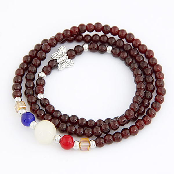 Good luck imitation garnet delicate bracelet 208513