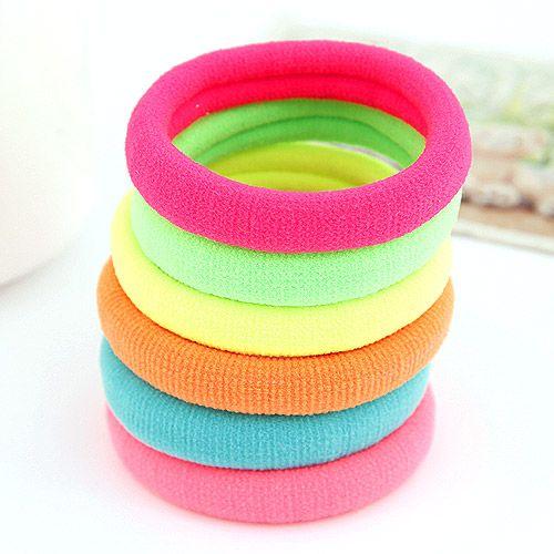 ( 1 unit price )  Sweet Fluorescent color scrunchies ( random color ) 208498