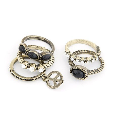 Easy match peach sign gem embedded five sets combination ring 208156