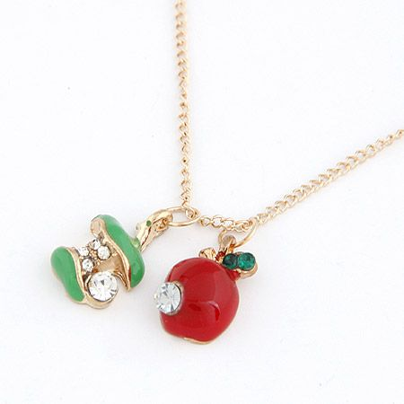 Sweet  epoxy covering red and green little apple short necklace 208261