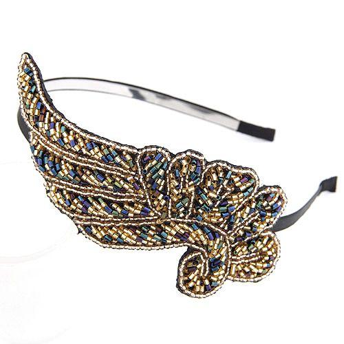 Pop Star - luxury dark blue bead phoenix hair hoop 207811