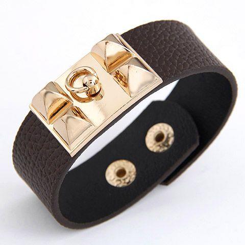 Occident fashion boast studded  leather bracelet  coffee  207577