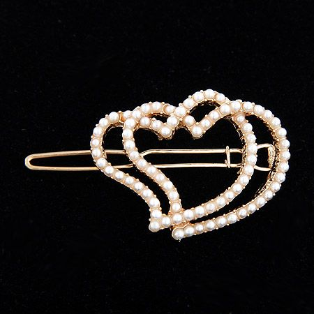 EXQUISITE full Beads unique heart to heart barrette / hair clip 207540