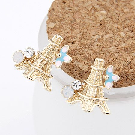 EXQUISITE  Sweet gem Eiffel tower ear studs 207259
