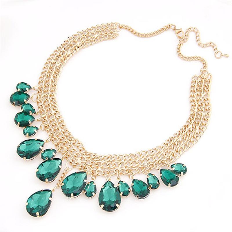Luxury bright green gem tear drop weave short necklace 207284