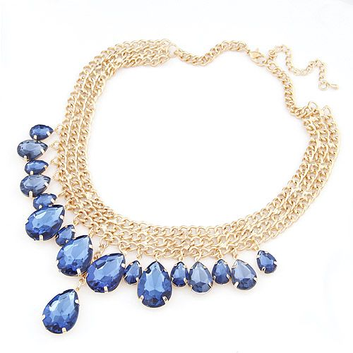 Luxury bright sapphire gem tear drop weave short  necklace 207283